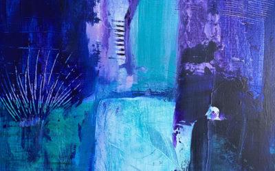 Abstraktes Acrylgemälde: Raum der Freude – ein Gespräch