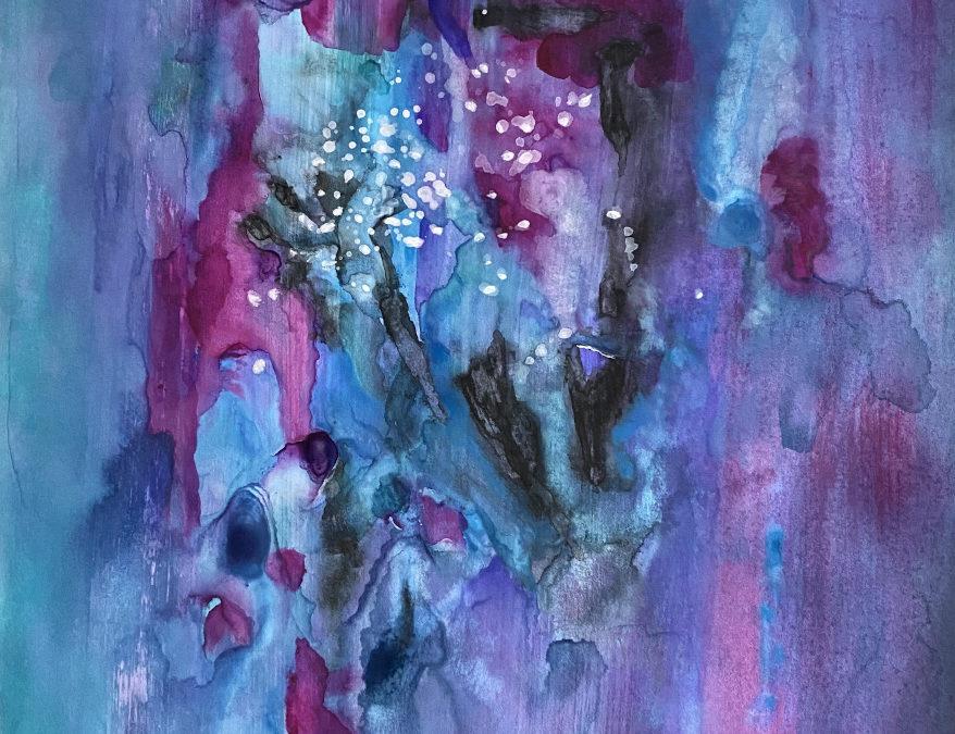 Tag des Glücks – abstraktes Gemälde mit Inspirationstext