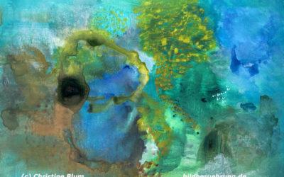 Abstraktes Gemälde und Text: Wendepunkt – eine heilige Zeit
