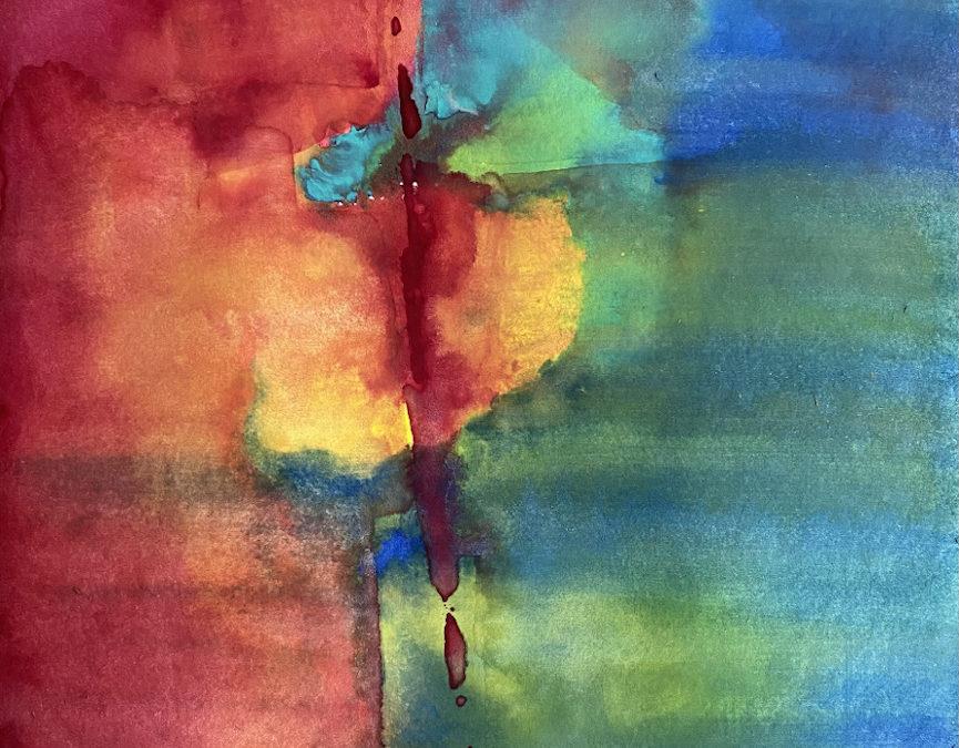 Abstrakte Kunst und Text: Kraft der Auferstehung – ich beginne zu wachsen