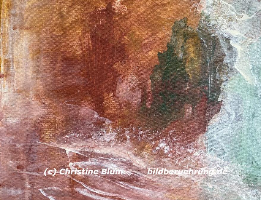 Abstraktes Gemälde und Text: Über das Sanfte – eine andere Sichtweise