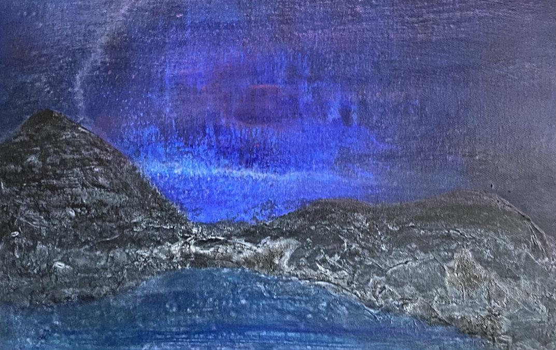 Abstrakte Kunst und Inspirationstext: Land der Stille